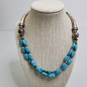 Faux Turquoise Necklace Beaded Silver Tone Chain B